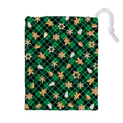 Gingerbread Green Drawstring Pouches (extra Large)