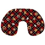 Gingerbread Red Travel Neck Pillows Back