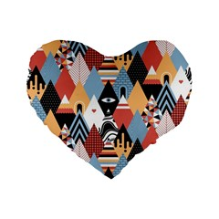 Abstract Diamond Pattern Standard 16  Premium Heart Shape Cushions