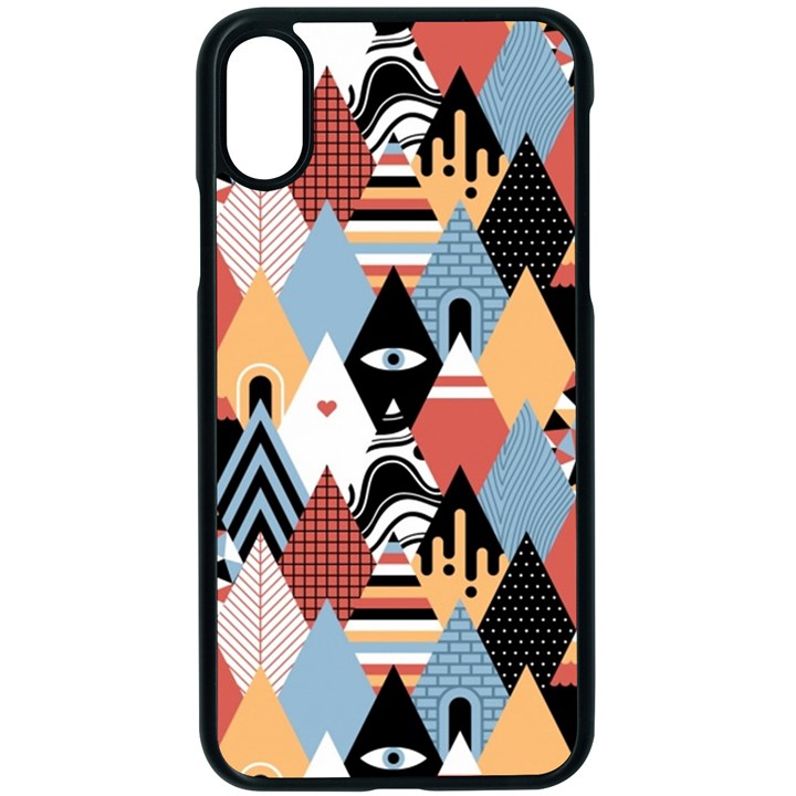 Abstract Diamond Pattern Apple iPhone X Seamless Case (Black)
