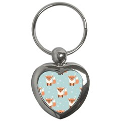 Cute Fox Pattern Key Chains (heart)  by allthingseveryday