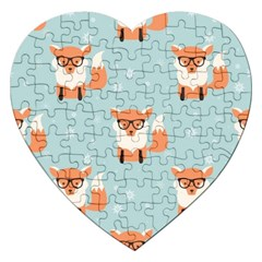Cute Fox Pattern Jigsaw Puzzle (heart) by allthingseveryday