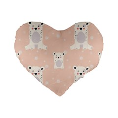 Cute Polar Bear Pattern Standard 16  Premium Flano Heart Shape Cushions by allthingseveryday