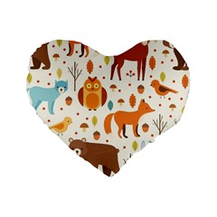 Woodland Friends Pattern Standard 16  Premium Flano Heart Shape Cushions by allthingseveryday