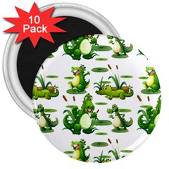Crocodiles In The Pond 3  Magnets (10 Pack)  by allthingseveryday