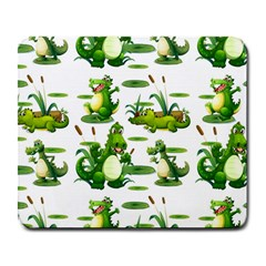 Crocodiles In The Pond Large Mousepads by allthingseveryday