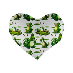 Crocodiles In The Pond Standard 16  Premium Flano Heart Shape Cushions by allthingseveryday