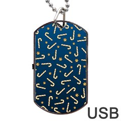 Golden Candycane Blue Dog Tag Usb Flash (one Side) by jumpercat