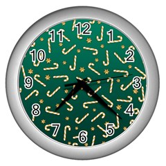 Golden Candycane Green Wall Clocks (silver)  by jumpercat