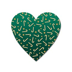 Golden Candycane Green Heart Magnet by jumpercat