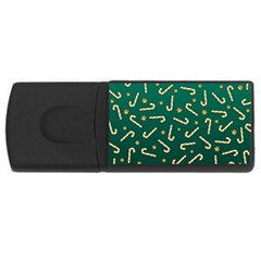 Golden Candycane Green Rectangular Usb Flash Drive