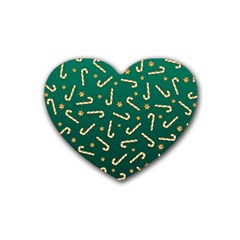Golden Candycane Green Rubber Coaster (heart)