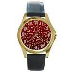 Golden Candycane Red Round Gold Metal Watch Front