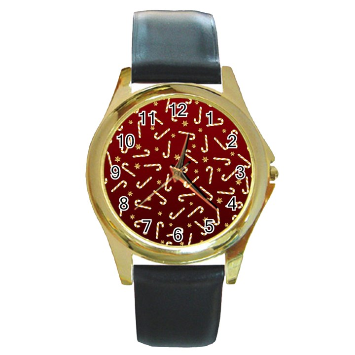 Golden Candycane Red Round Gold Metal Watch