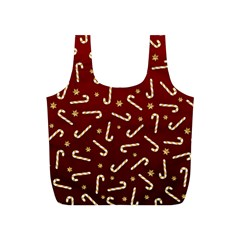 Golden Candycane Red Full Print Recycle Bags (s)