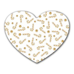Golden Candycane Light Heart Mousepads