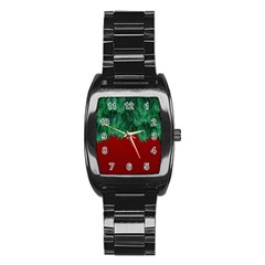 Xmas Tree Stainless Steel Barrel Watch