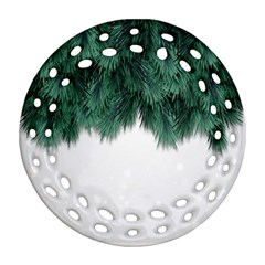 Snow And Tree Ornament (round Filigree)