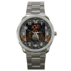 Awesome Tribal Dragon Made Of Metal Sport Metal Watch by FantasyWorld7