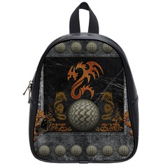 Awesome Tribal Dragon Made Of Metal School Bag (small) by FantasyWorld7