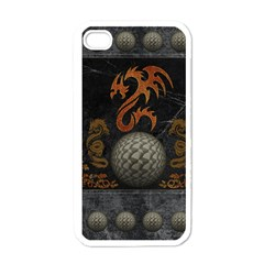 Awesome Tribal Dragon Made Of Metal Apple Iphone 4 Case (white) by FantasyWorld7