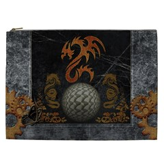 Awesome Tribal Dragon Made Of Metal Cosmetic Bag (xxl)  by FantasyWorld7