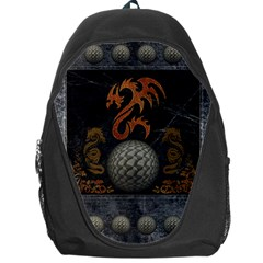 Awesome Tribal Dragon Made Of Metal Backpack Bag by FantasyWorld7