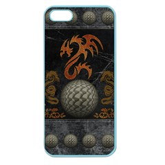 Awesome Tribal Dragon Made Of Metal Apple Seamless Iphone 5 Case (color) by FantasyWorld7
