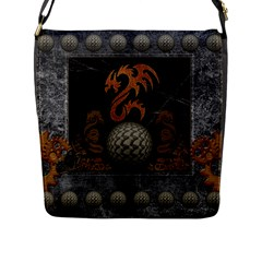 Awesome Tribal Dragon Made Of Metal Flap Messenger Bag (l)  by FantasyWorld7