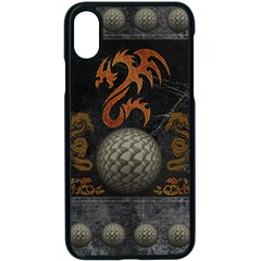 Awesome Tribal Dragon Made Of Metal Apple Iphone X Seamless Case (black) by FantasyWorld7