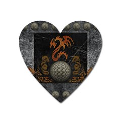 Awesome Tribal Dragon Made Of Metal Heart Magnet by FantasyWorld7