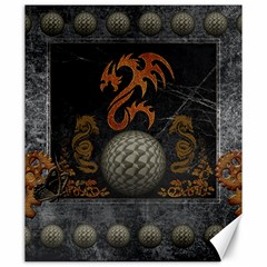 Awesome Tribal Dragon Made Of Metal Canvas 20  X 24   by FantasyWorld7