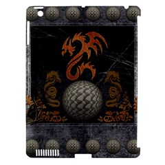Awesome Tribal Dragon Made Of Metal Apple Ipad 3/4 Hardshell Case (compatible With Smart Cover) by FantasyWorld7