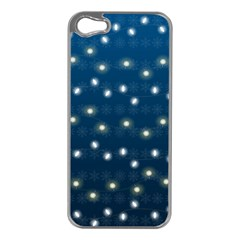 Christmas Light Blue Apple Iphone 5 Case (silver)
