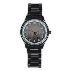 Winter Land Dark Stainless Steel Round Watch