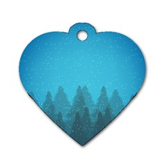 Winter Land Blue Dog Tag Heart (one Side)