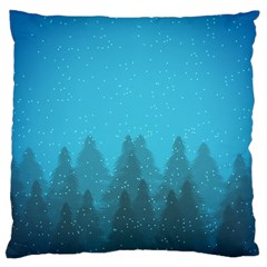 Winter Land Blue Large Cushion Case (two Sides)