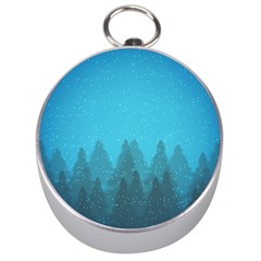 Winter Land Blue Silver Compasses