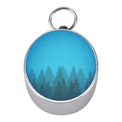 Winter Land Blue Mini Silver Compasses