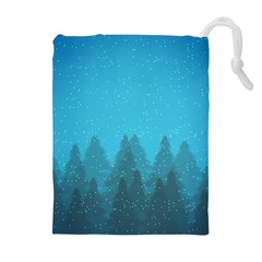 Winter Land Blue Drawstring Pouches (extra Large) by jumpercat