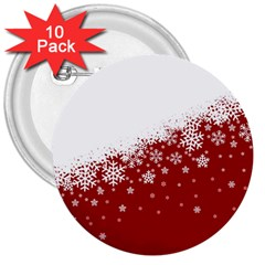 Xmas Snow 01 3  Buttons (10 Pack)