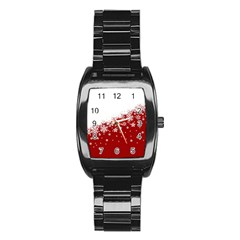 Xmas Snow 01 Stainless Steel Barrel Watch