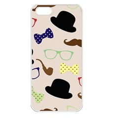 Moustache Hat Bowler Bowler Hat Apple Iphone 5 Seamless Case (white) by Celenk