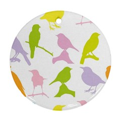 Birds Colourful Background Round Ornament (two Sides)