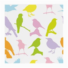 Birds Colourful Background Medium Glasses Cloth by Celenk