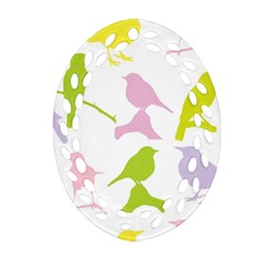Birds Colourful Background Ornament (oval Filigree) by Celenk