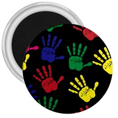 Handprints Hand Print Colourful 3  Magnets by Celenk