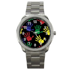 Handprints Hand Print Colourful Sport Metal Watch by Celenk