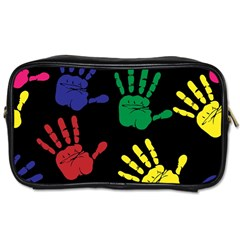 Handprints Hand Print Colourful Toiletries Bags by Celenk