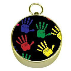 Handprints Hand Print Colourful Gold Compasses by Celenk